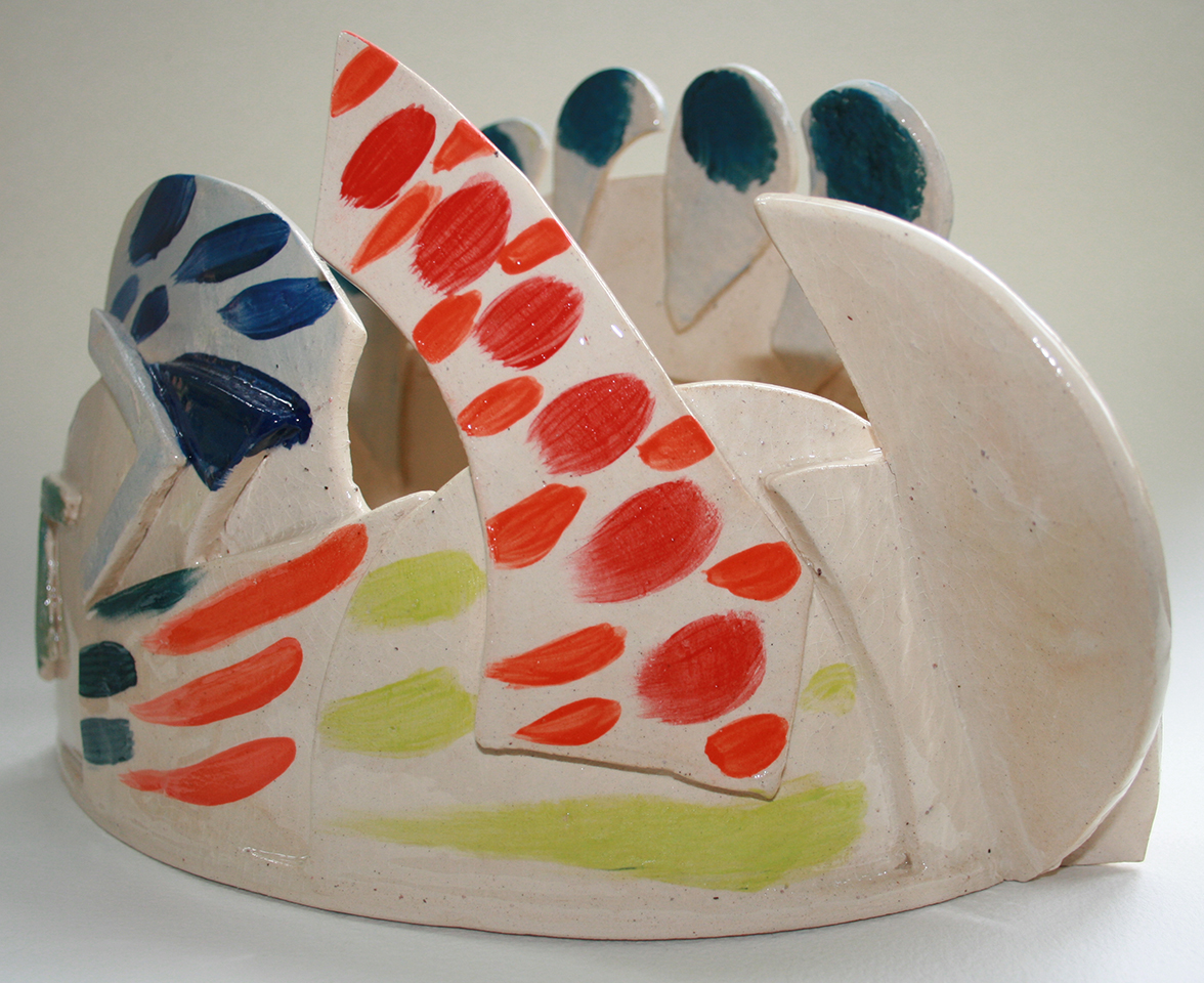 Clacton Pier, stoneware and underglaze. Deborah Jaffé 2014