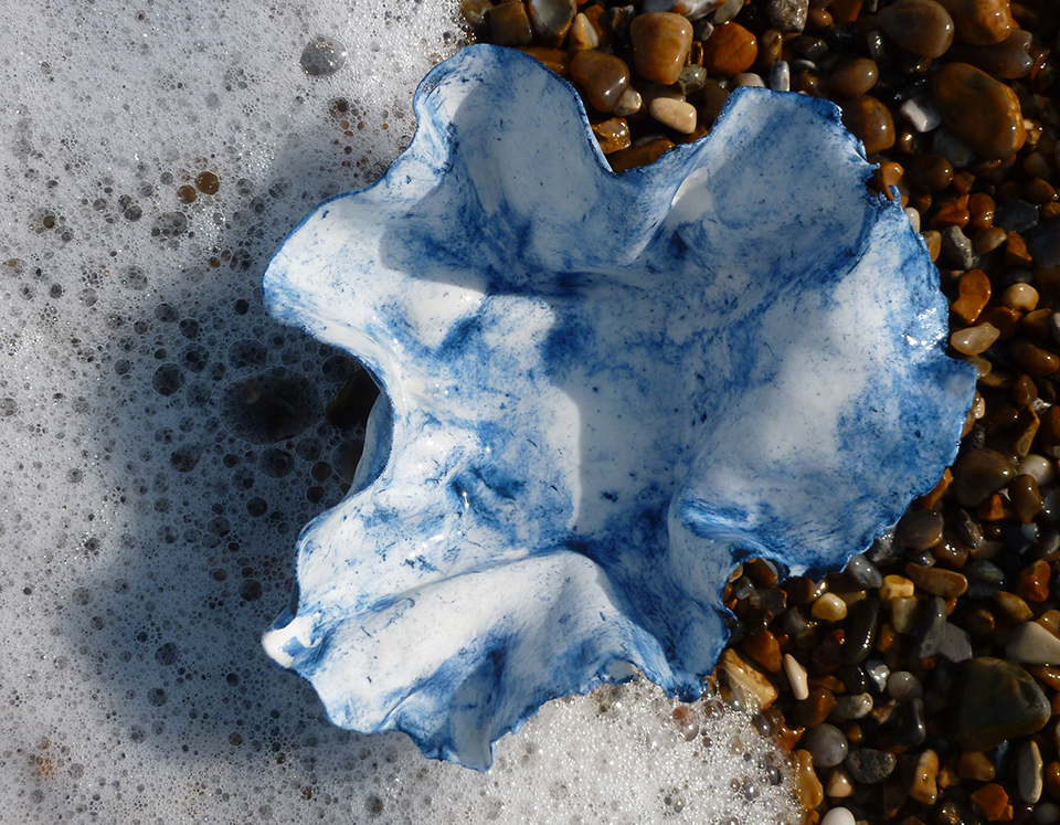 On Aldeburgh Beach. Porcelain and cobalt oxide c.15x15cm. Deborah Jaffé 2016