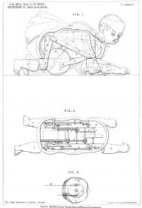 Patent diagram showing the complexity of the mechanical movements inside Louis Schmetzer's 1871 Creeping Baby Doll. A rod could be added to the axle and another doll attached to make creeping twins. Patent GB 2942/1871
