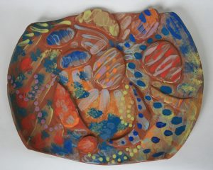 Wet Beach Weston super Mare. Underglaze on earthenware. Deborah Jaffé 2014