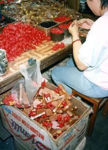 Assembling plastic toys in Hong Kong, 1985. This was labour intensive before the onset of new manufacturing technologies.