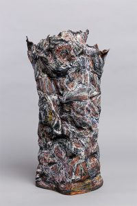 Transient Memory1 front. Earthenware, paper, wax resist, 70cm high. Photograph: Tim Bowditch