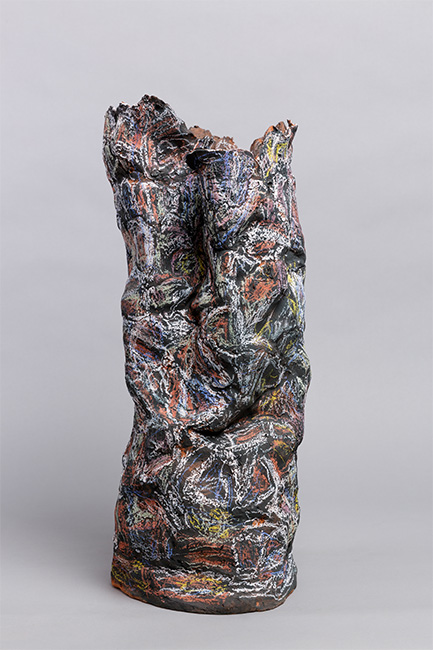 Transient Memory1 back. Earthenware, paper, wax resist, 70cm high. Photograph: Tim Bowditch